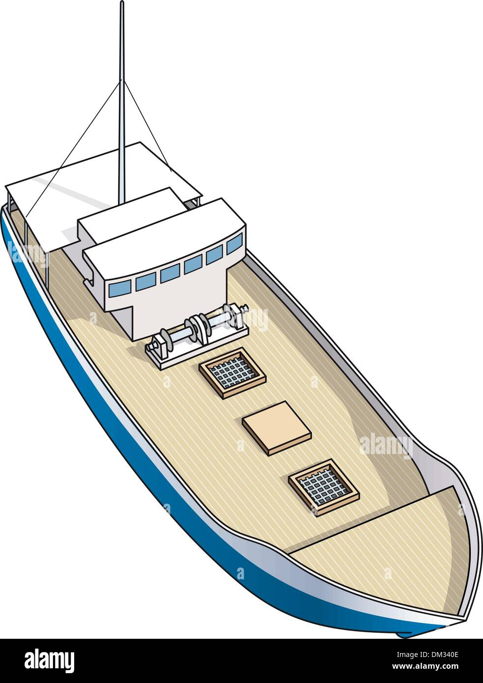 Isometric drawing of fisher boat and trawler for spiny lobster - Stock Image