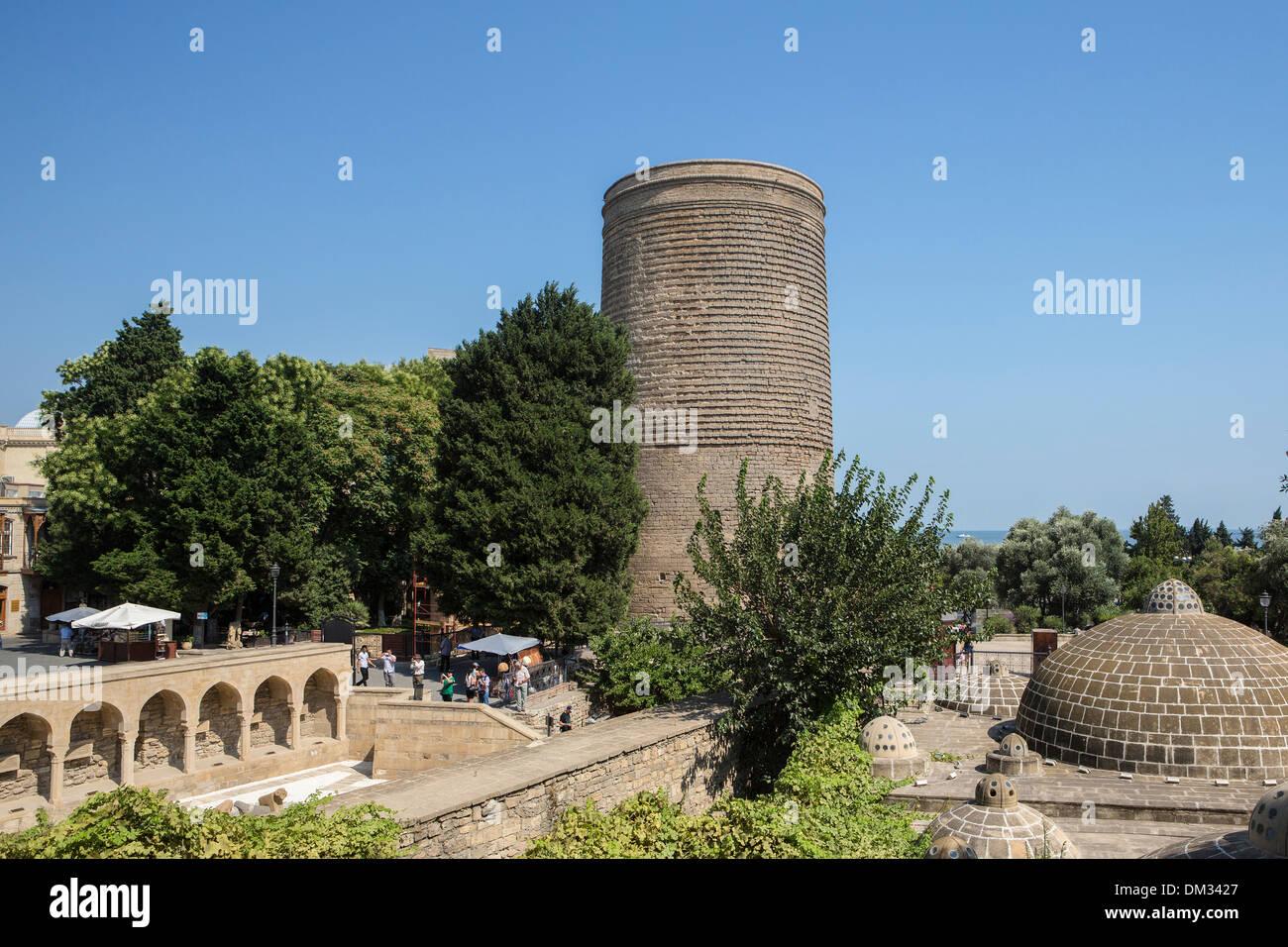 world heritage Azerbaijan Caucasus Eurasia Baku City Bazaar Maiden Old Baku Tower architecture city history historical - Stock Image