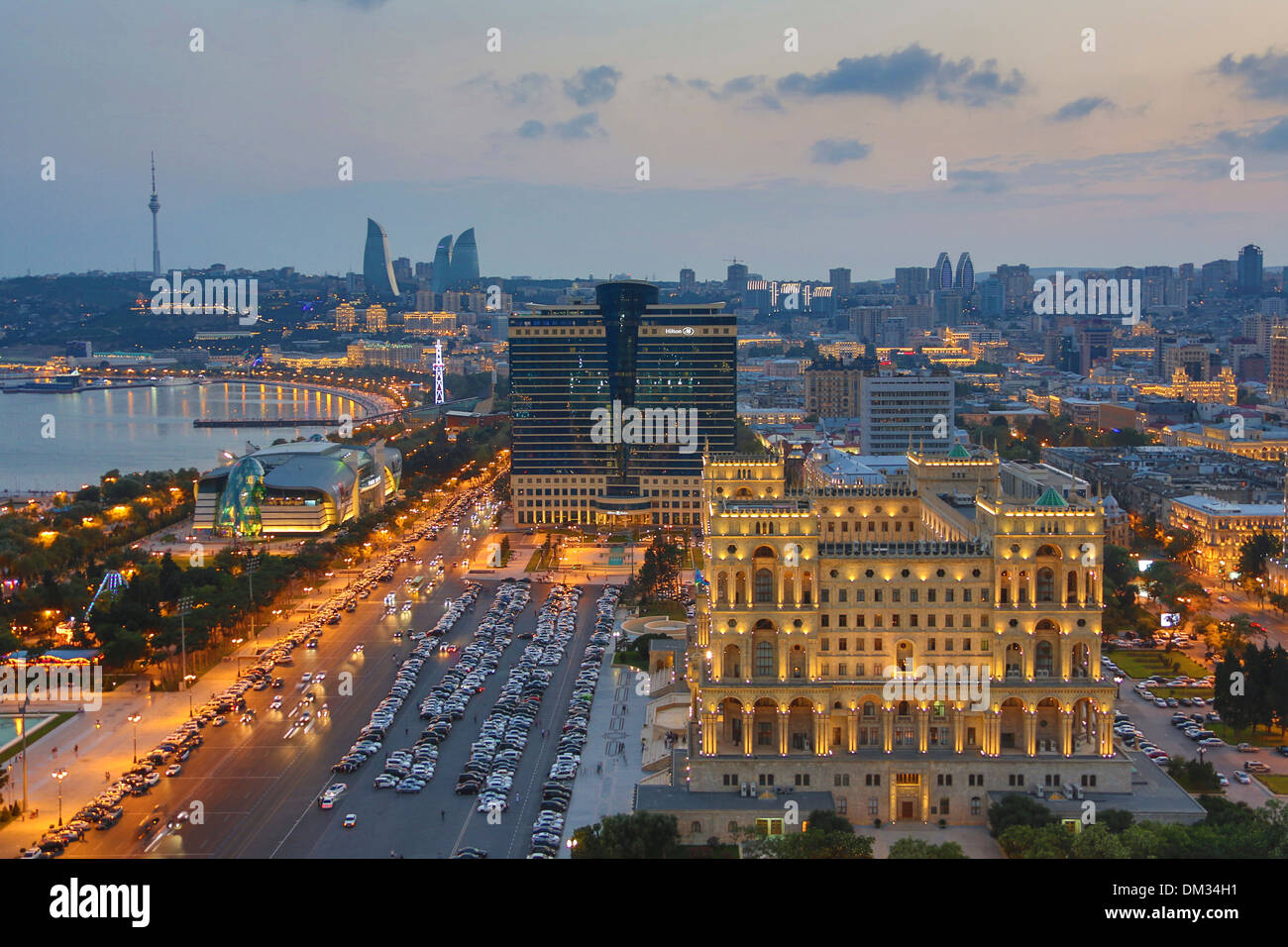 Azerbaijan Caucasus Eurasia Baku Government aerial architecture avenue bay cars city downtown fountains government skyline - Stock Image