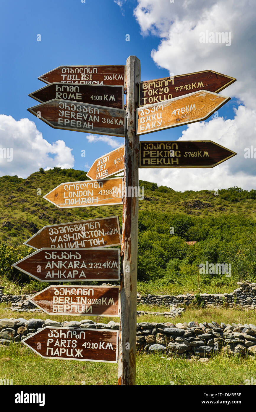 Gremi, Kaheti, distances, Georgia, Caucasus, Eurasia, post, sign, world, travel, destinations - Stock Image