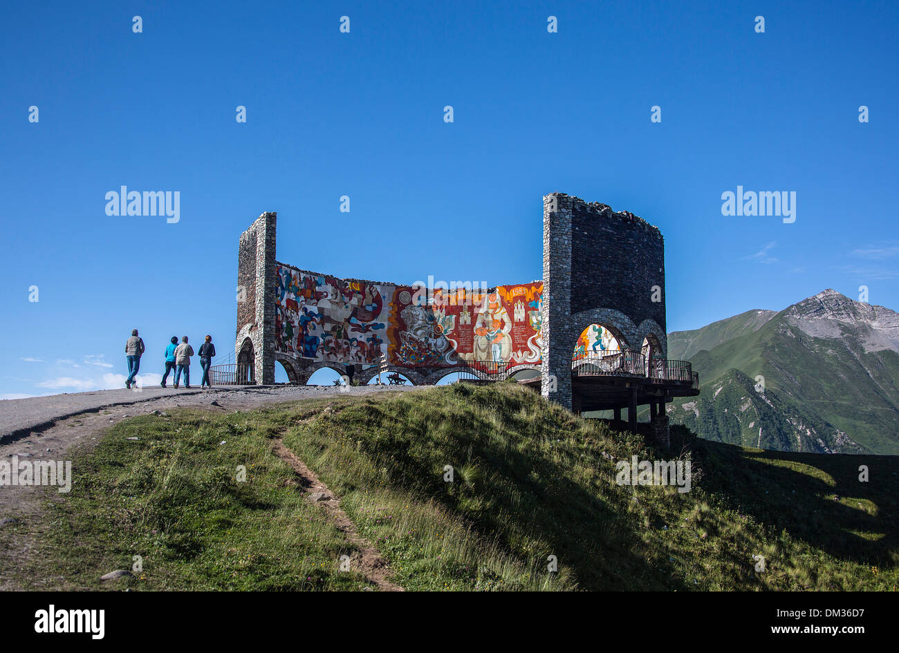 Gudauri Russian Caucasus colourful friendship Georgia Caucasus Eurasia lookout monument mountains pass range top - Stock Image