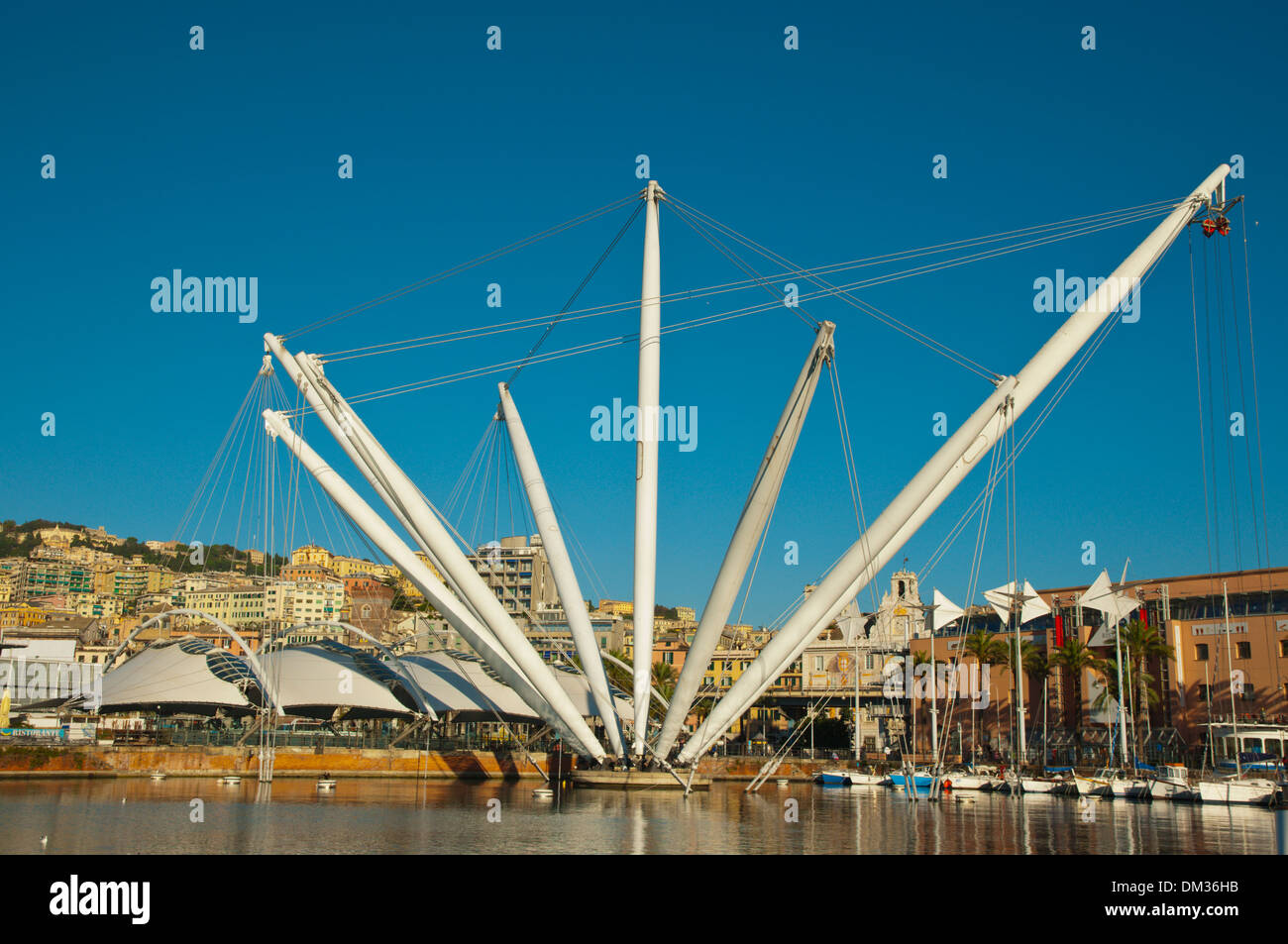 Bigo by Renzo Piano in Porto Antico the old port Genoa Liguria region Italy Europe - Stock Image
