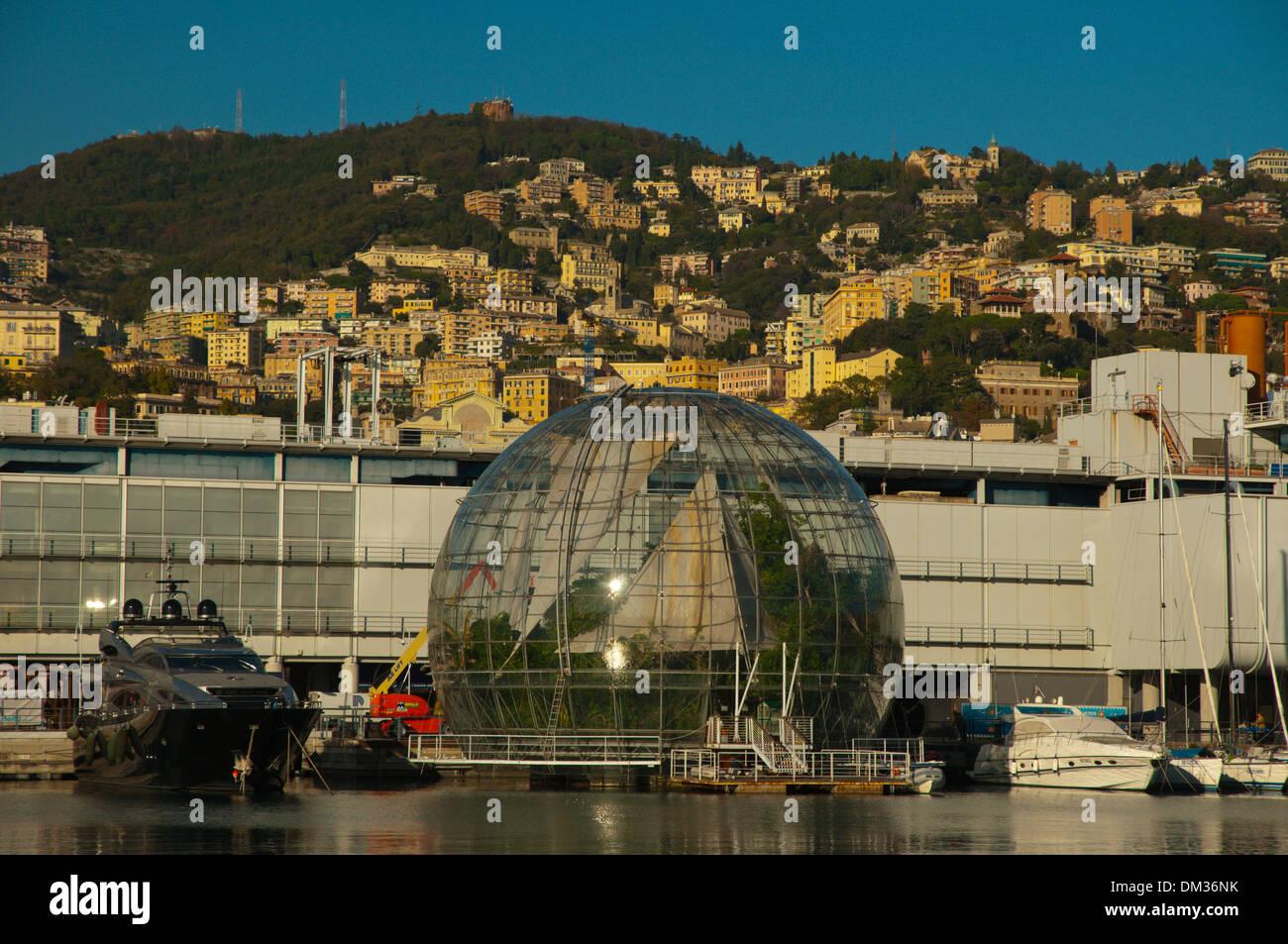 Biosfera by Renzo Piano housing tropical ecosystem Porto Antico the old port Genoa Liguria region Italy Europe - Stock Image