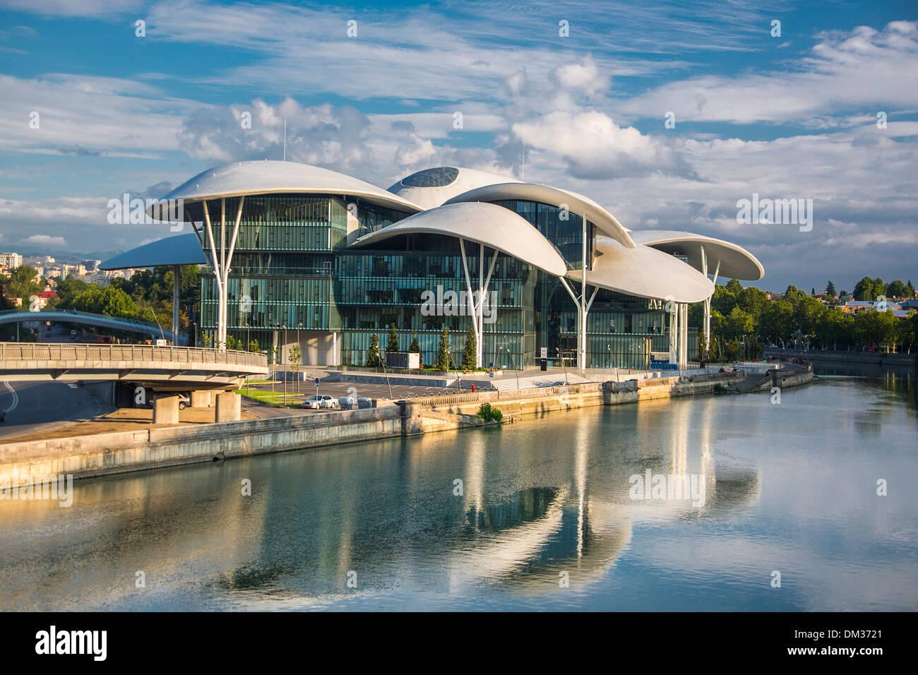 Justice, Tbilisi, architecture, bridge, city, downtown, Georgia, Caucasus, Eurasia, new, palace, river, touristic, travel, - Stock Image