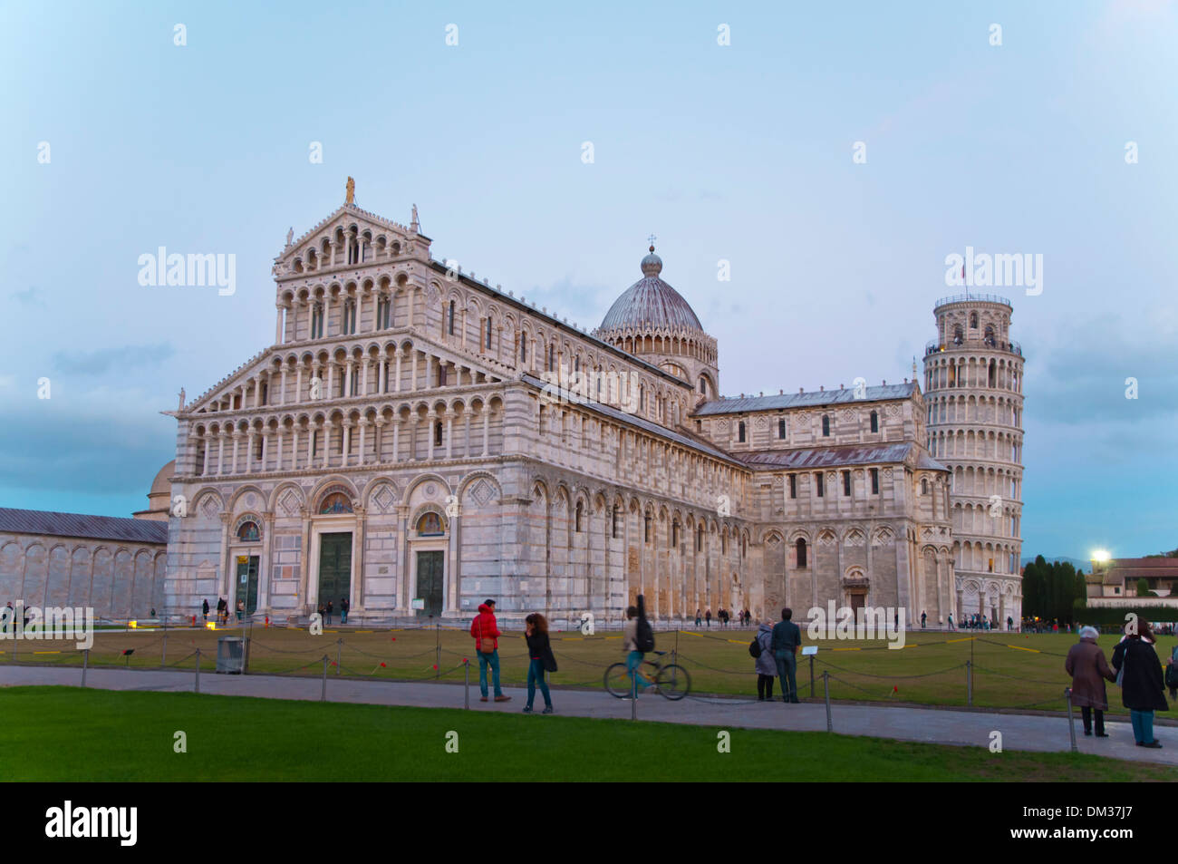 Duomo the Cathedral and the leaning tower at Campo dei Miracoli the field of miracles Pisa city Tuscany region Italy Stock Photo