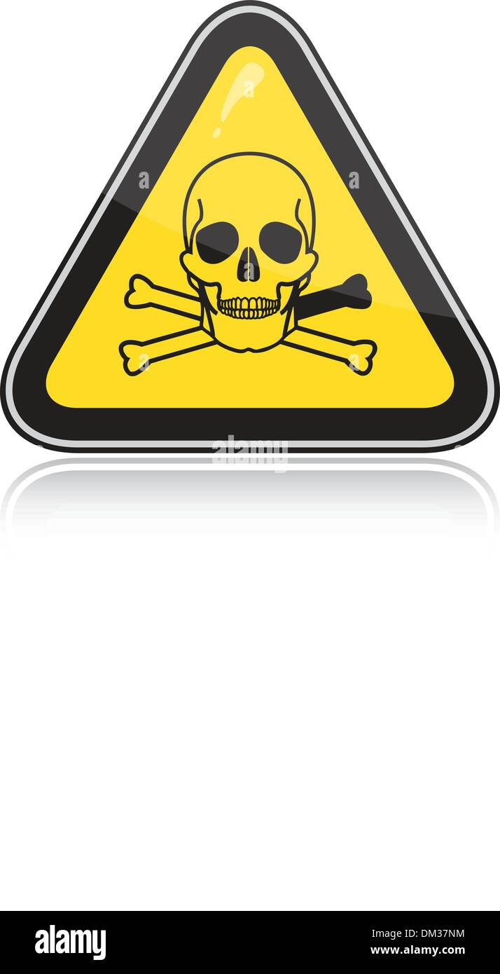 a yellow triangular warning sign attention toxic poison stock