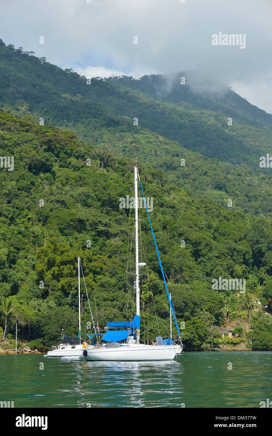 South America, Brazil, Ilha Grande, sail, boat, tropical, island, vertical, no people - Stock Image