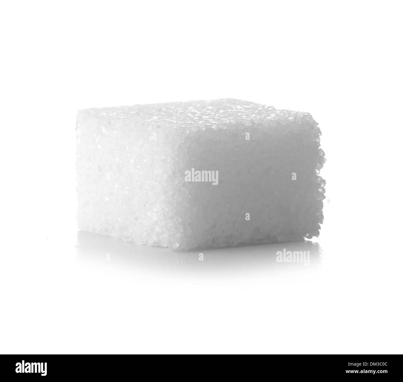 Sugar cube cut out on white background - Stock Image