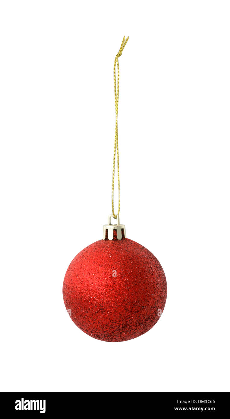 Red sparkle Christmas decoration bauble cut out on white background - Stock Image