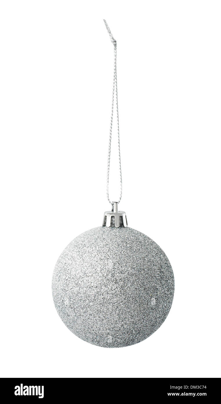 Silver sparkle Christmas bauble cut out on white background - Stock Image