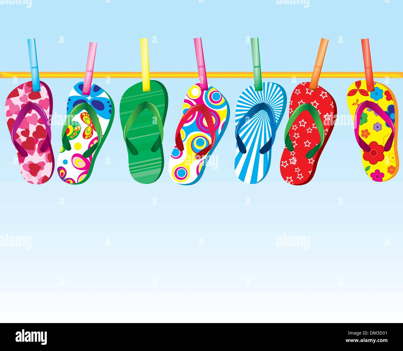 flip flop sandals on clothes line under pretty sky - Stock Vector