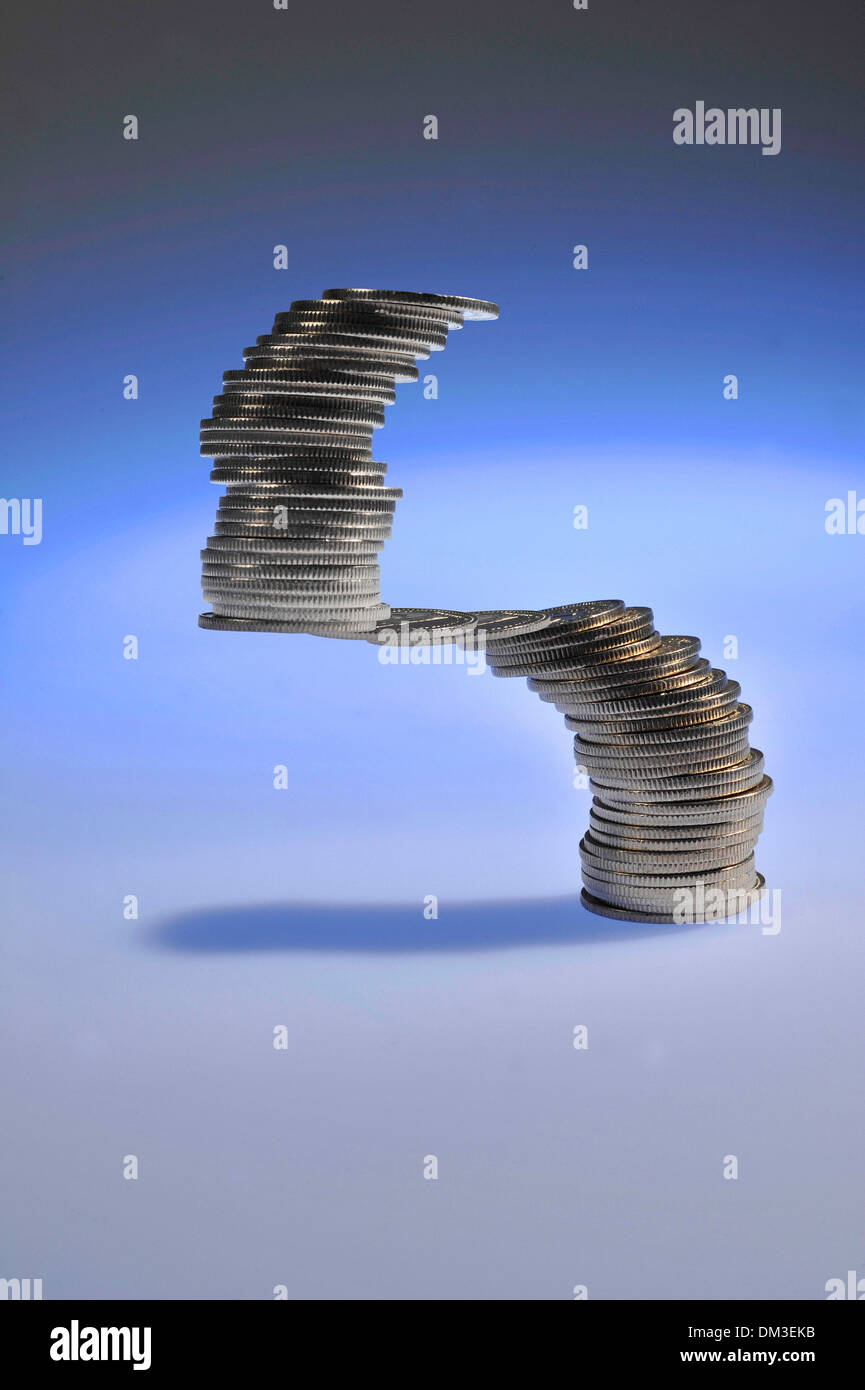 Money finances invest Switzerland Swiss franc symbol concepts financial jugglers restacking investors precaution money - Stock Image