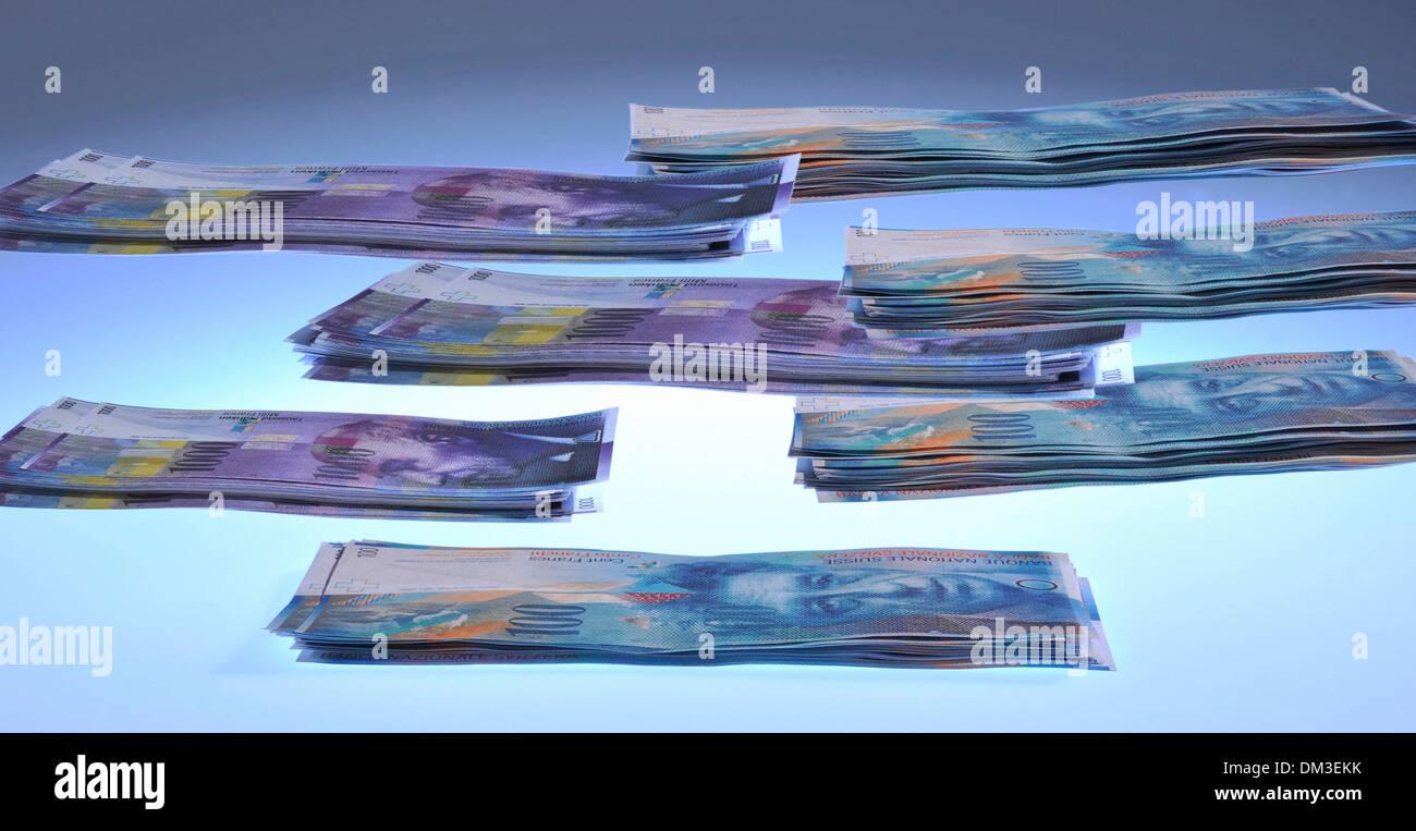 Money finances invest Switzerland Swiss franc symbol concepts restacking Franc Thousand thousand franc note Multi-layered - Stock Image