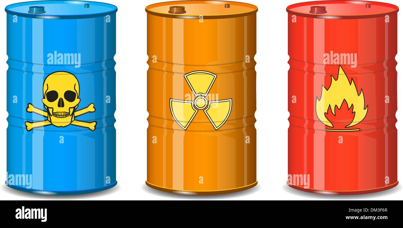 Barrel of chemicals. The poison, radiation, flammable. - Stock Image