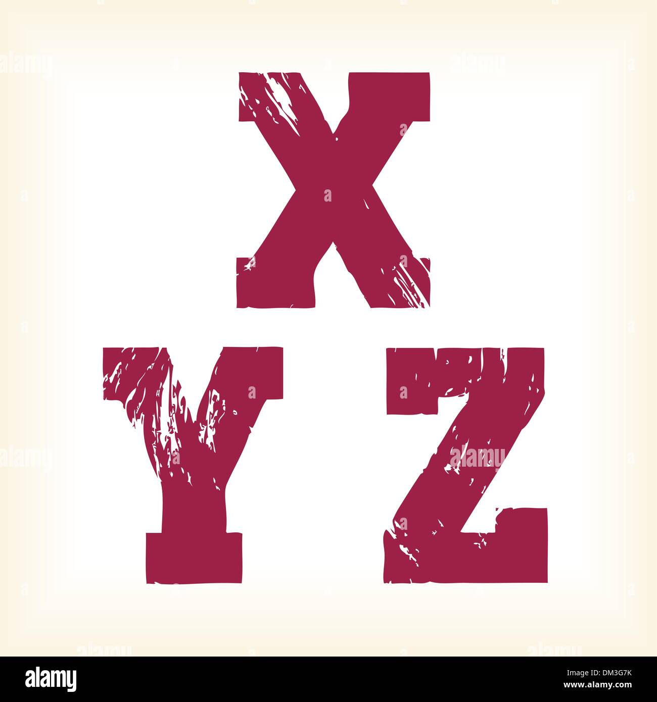 Grunge vector X, Y & Z letters - vector type alphabet - slab serif