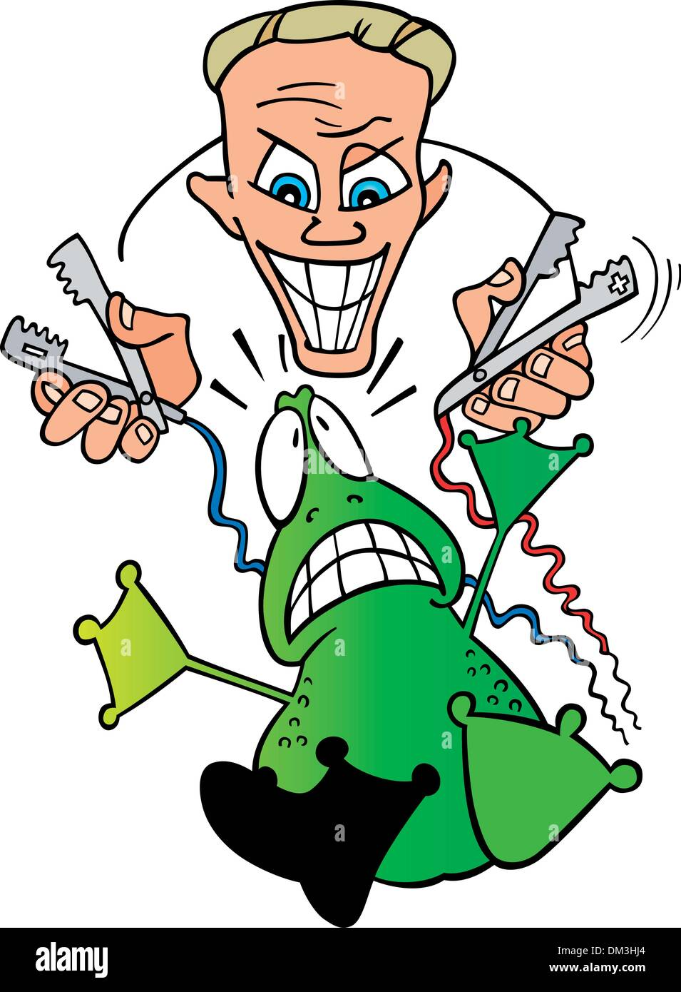 crazy scientist and frightened frog Stock Vector