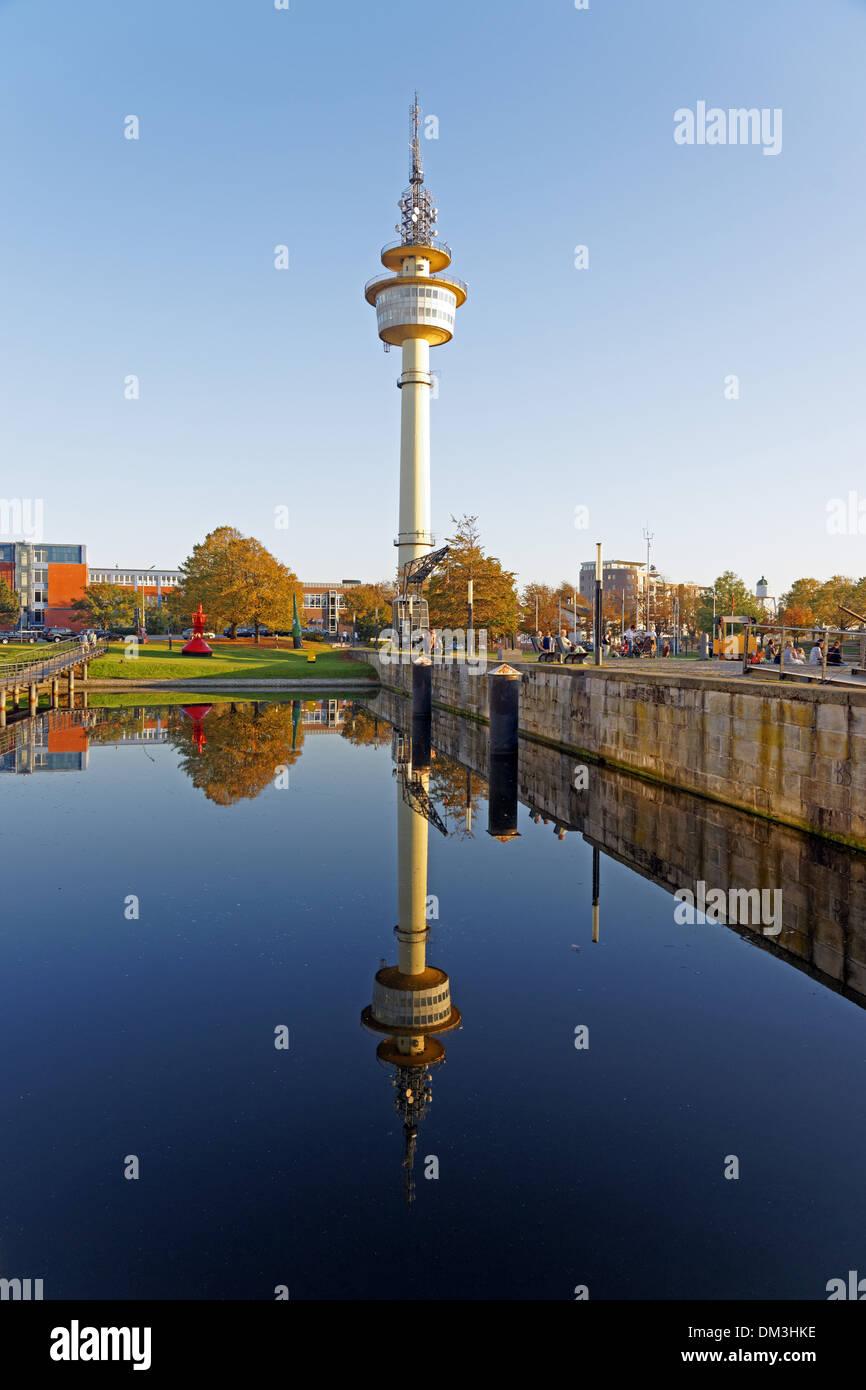 Europe Germany Bremen Bremerhaven Hans Scharoun square museum harbour German navigation museum telecom tower architecture Stock Photo