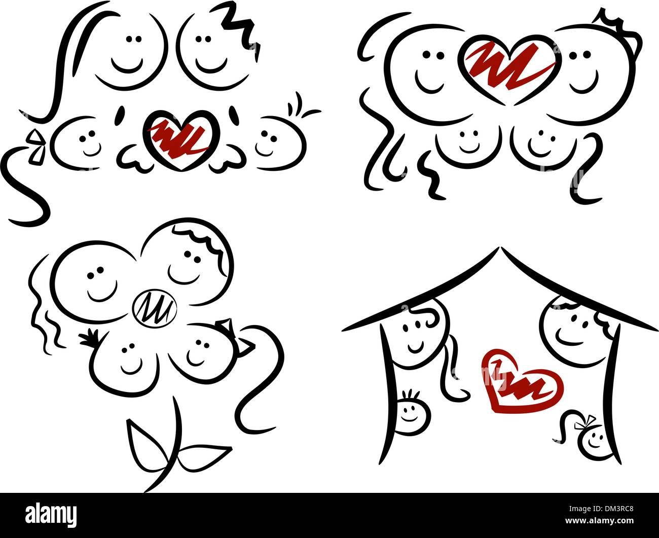 Happy family / Family love icons - Stock Vector