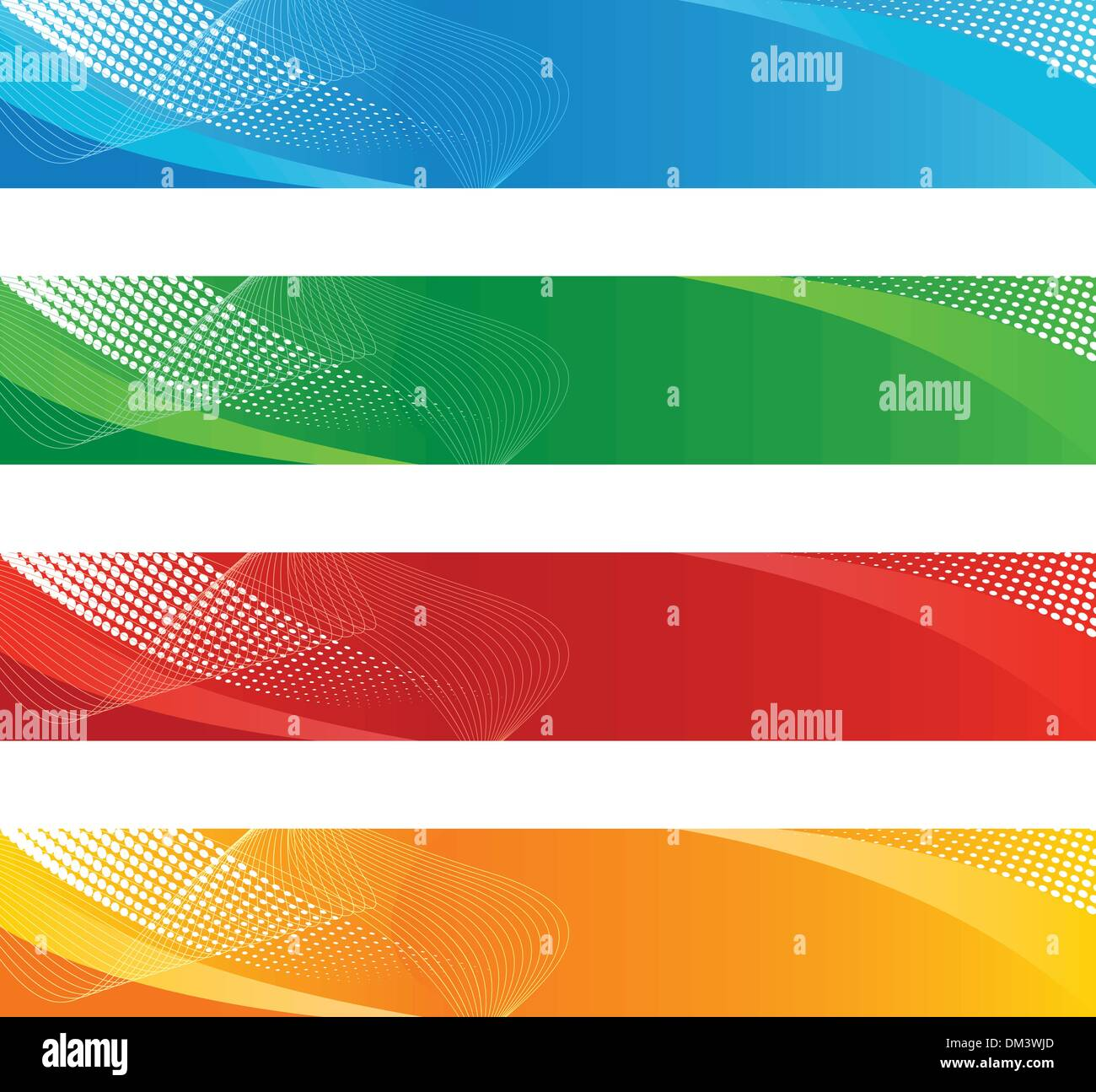 Banners in haftone and curved lines Stock Vector