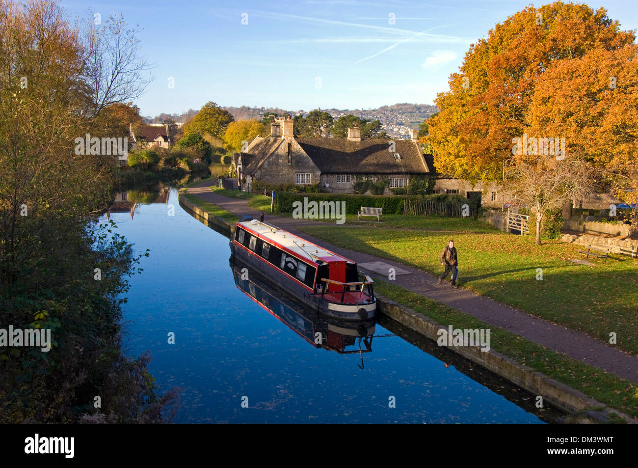 Still autumn morning on the Kennet and Avon canal at Bathampton Somerset England UK - Stock Image
