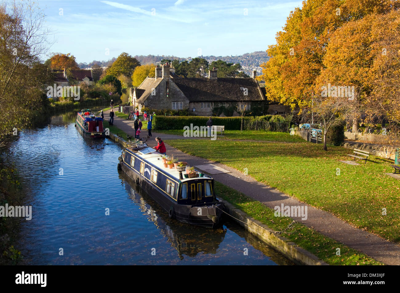 Autumn morning on the Kennet and Avon canal at Bathampton Somerset England UK - Stock Image