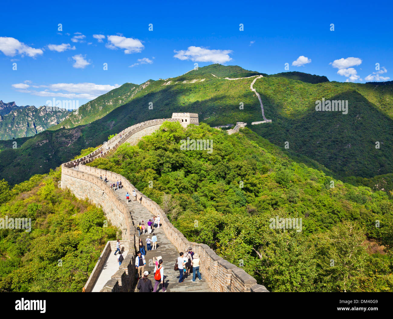 Tourists visiting the Great Wall of China, UNESCO World Heritage Site, Mutianyu, Beijing District, China, Asia - Stock Image