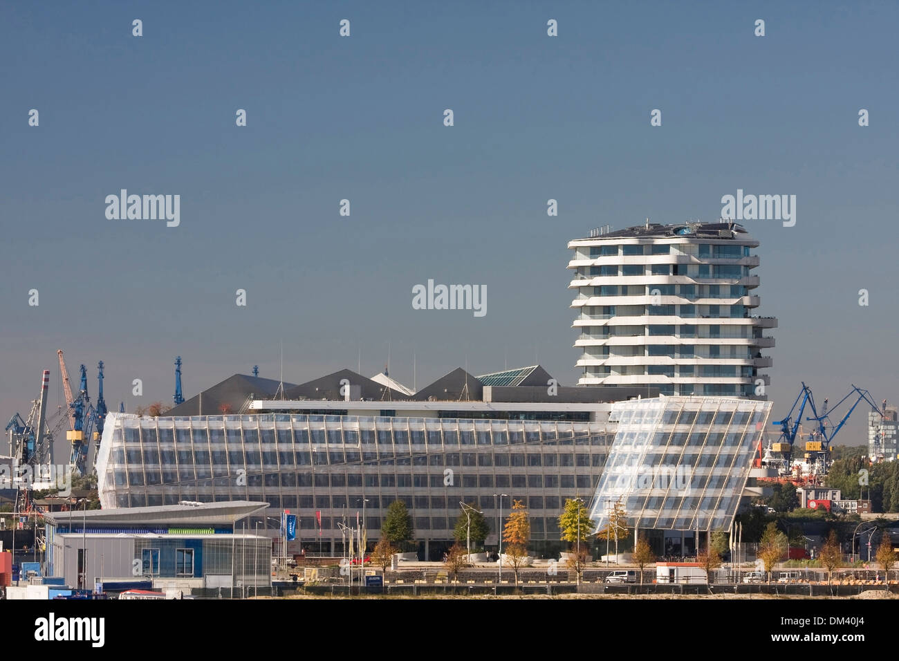 Architecture outside building federal republic German Germany Europe buildings constructions harbour port harbour Stock Photo