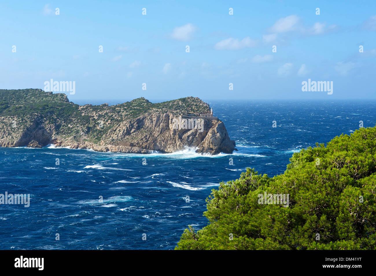 Balearic Islands Majorca Spain Europe Sa Dragonera island scenery landscape coast nature Mediterranean Sea sea outside nobody - Stock Image