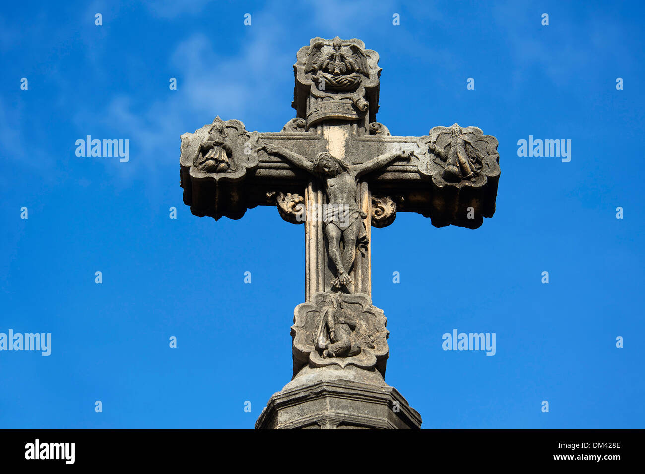 Balearic Islands Majorca Spain Europe cross Celtic Christianity Christian religion religious faith symbol Symbolical Stone - Stock Image