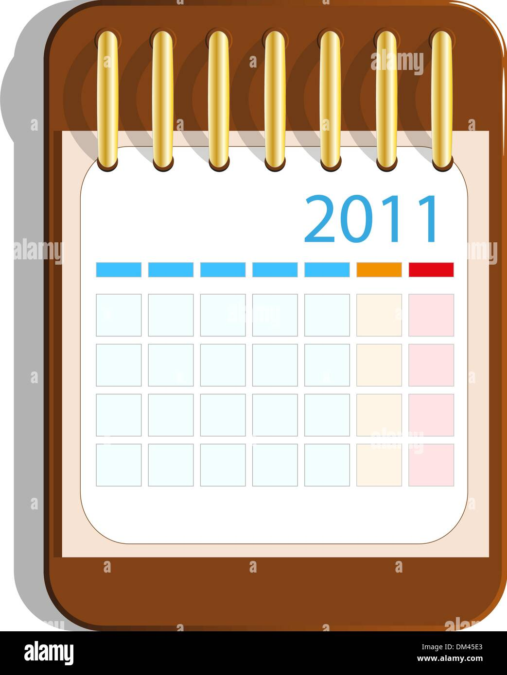 Calendar icon on the wooden base - Stock Image