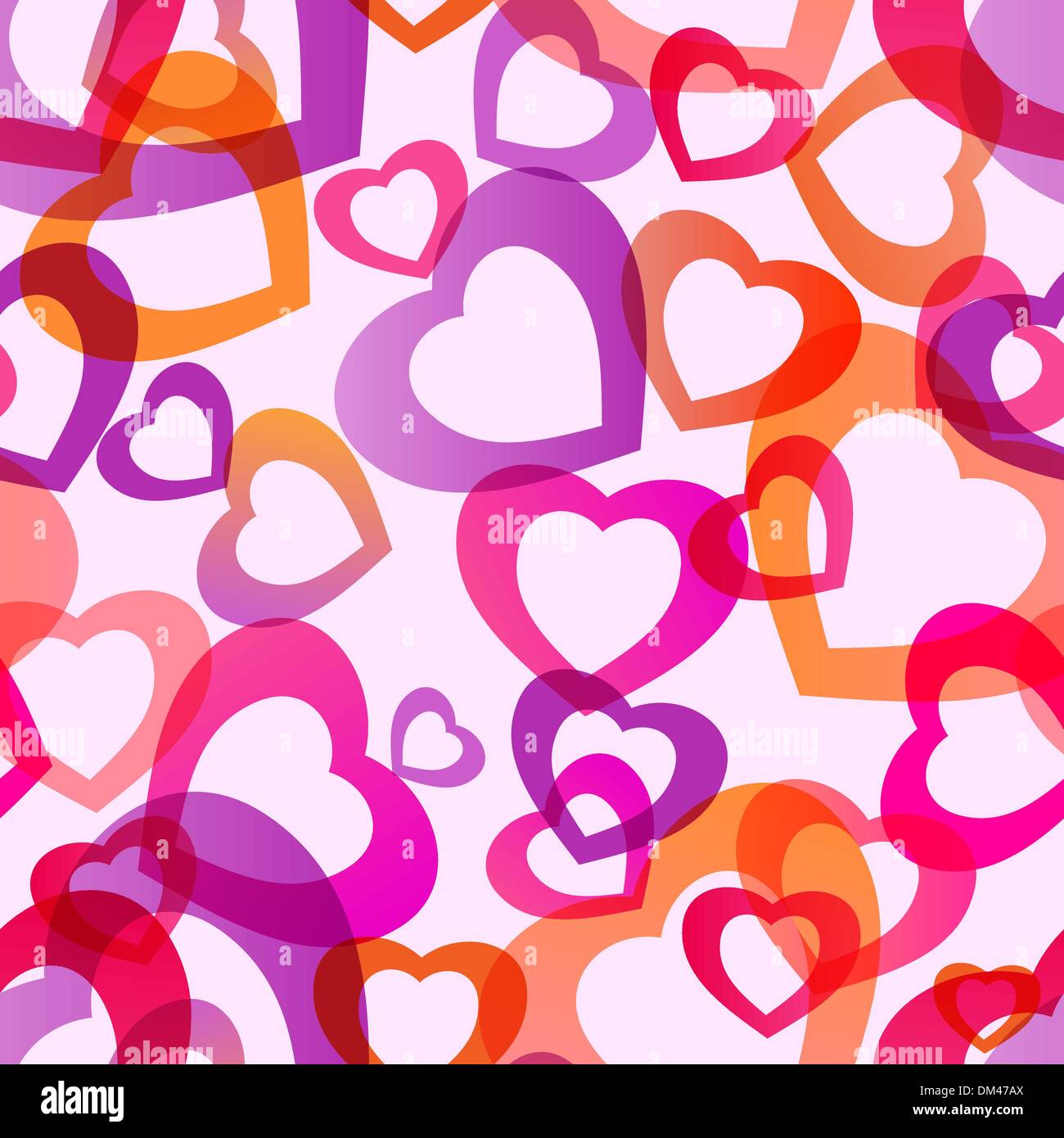 Transparent hearts seamless - Stock Image