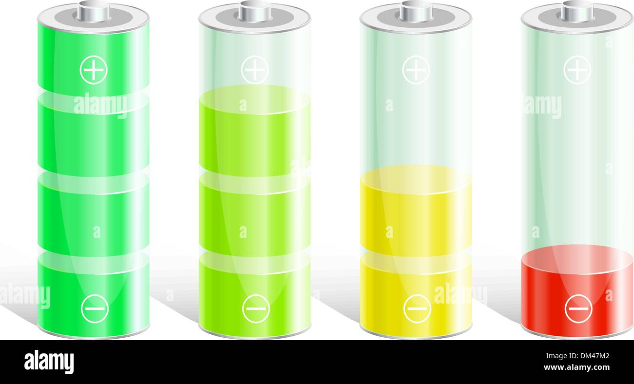 Battery with the level of charge. - Stock Vector