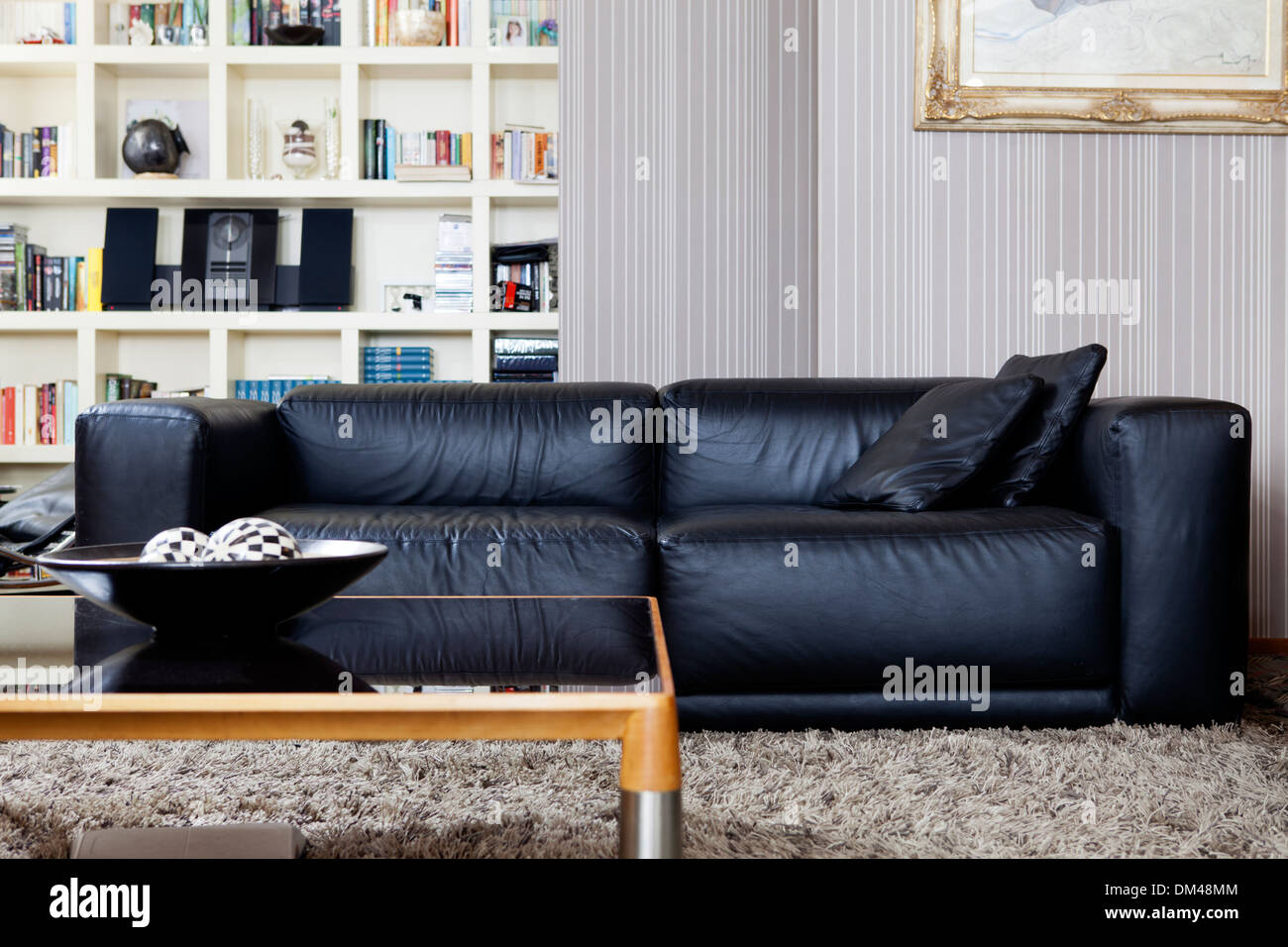 Magnificent Soft Black Leather Sofa In Living Room Stock Photo 64018884 Dailytribune Chair Design For Home Dailytribuneorg
