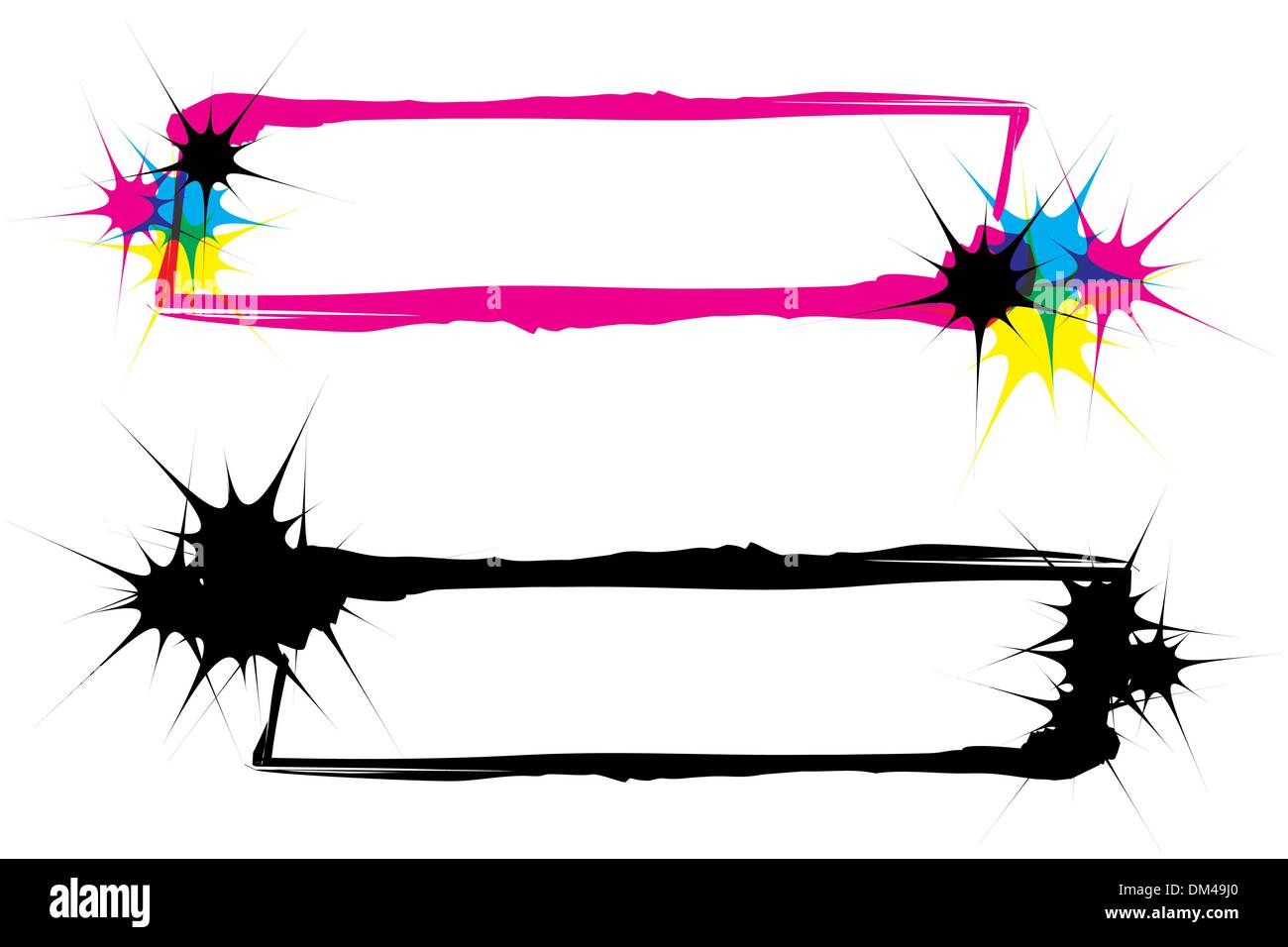 inkblots frames CMYK and silhouette - Stock Image