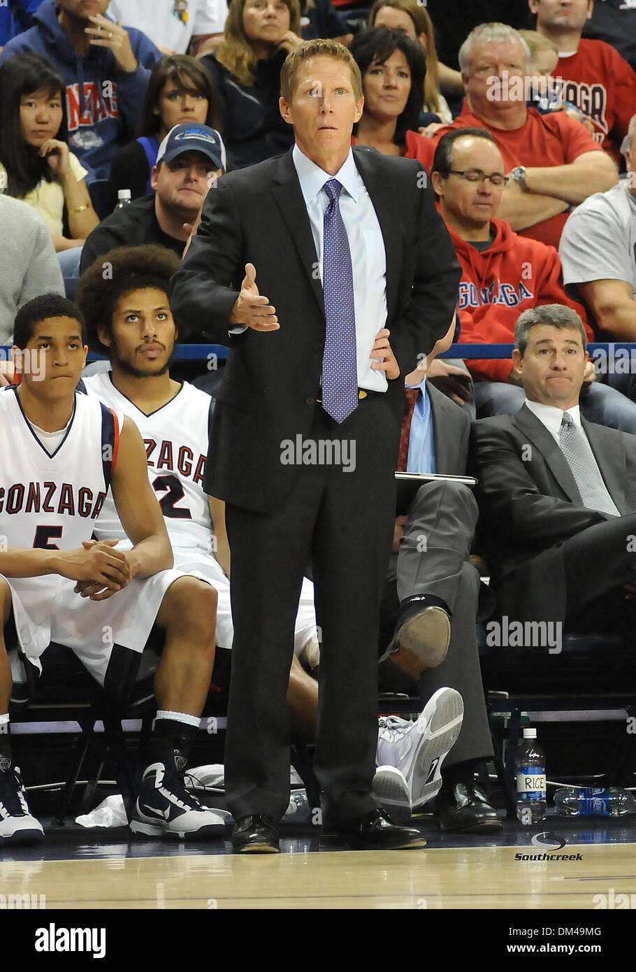 Gonzaga Head Coach Mark Few Looks On During A Ncaa College
