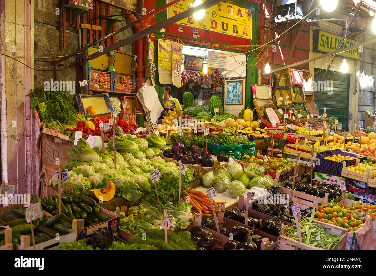 Italy Sicily South Italy Europe island market stalls market trade commerce fruit vegetables food groceries Palermo outside day - Stock Image