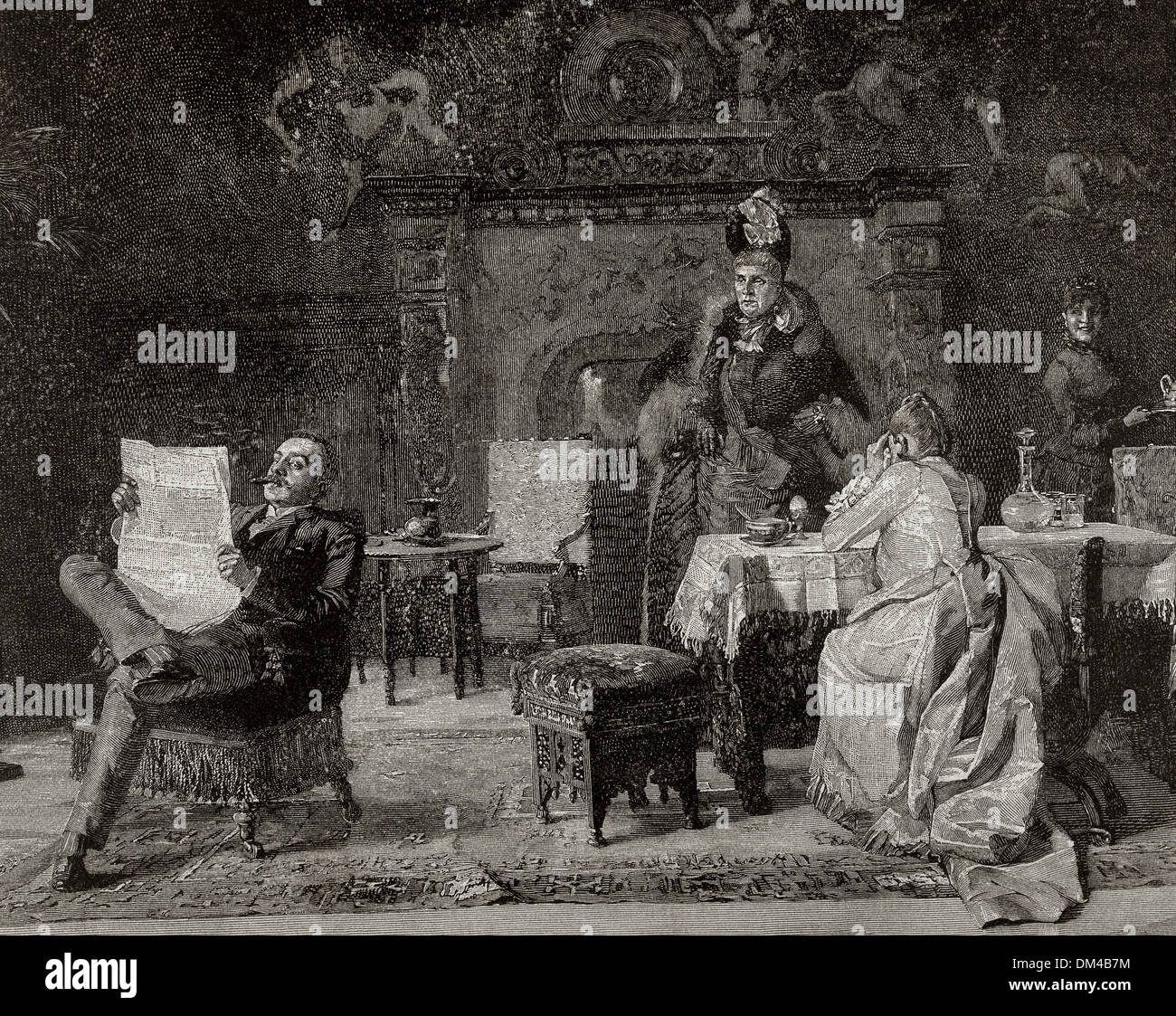 Bourgeois family in the living room. Engraving, 19th century. - Stock Image