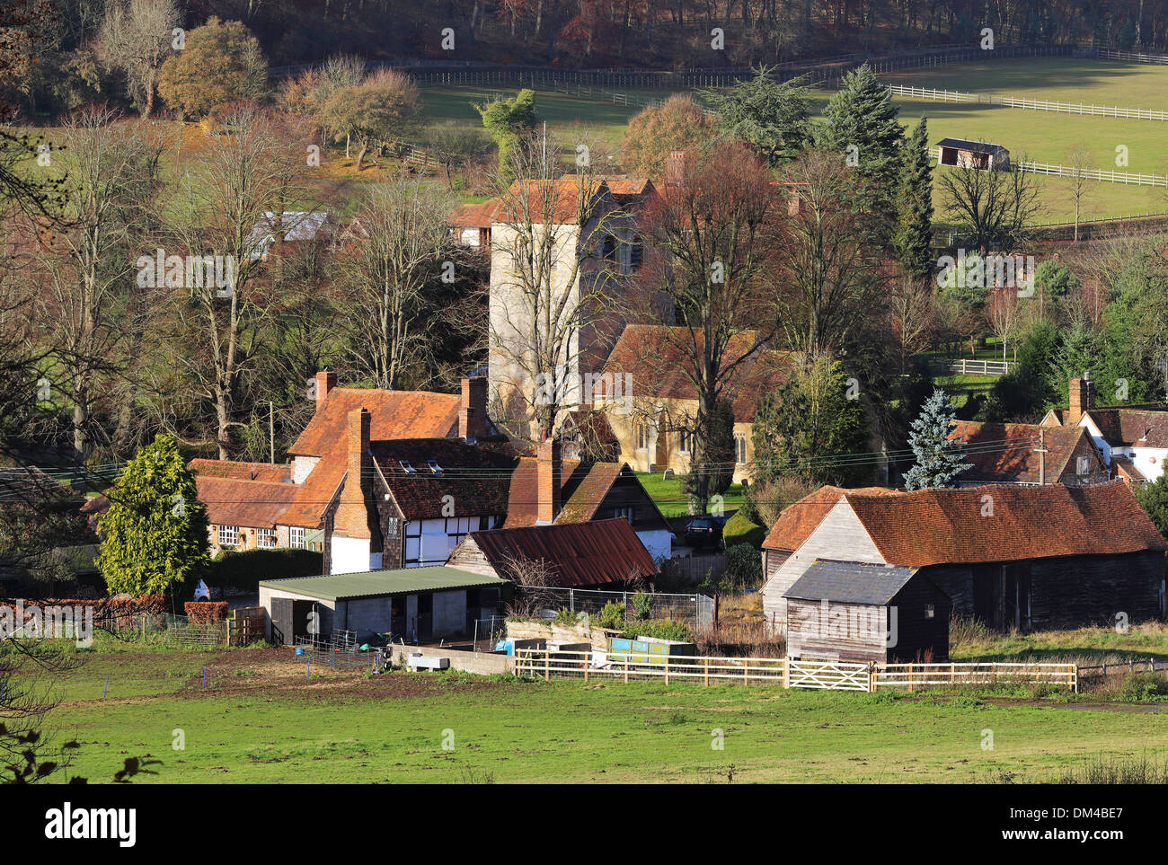 An English Rural Landscape in the Chiltern Hills with the Hamlet of Fingest - Stock Image