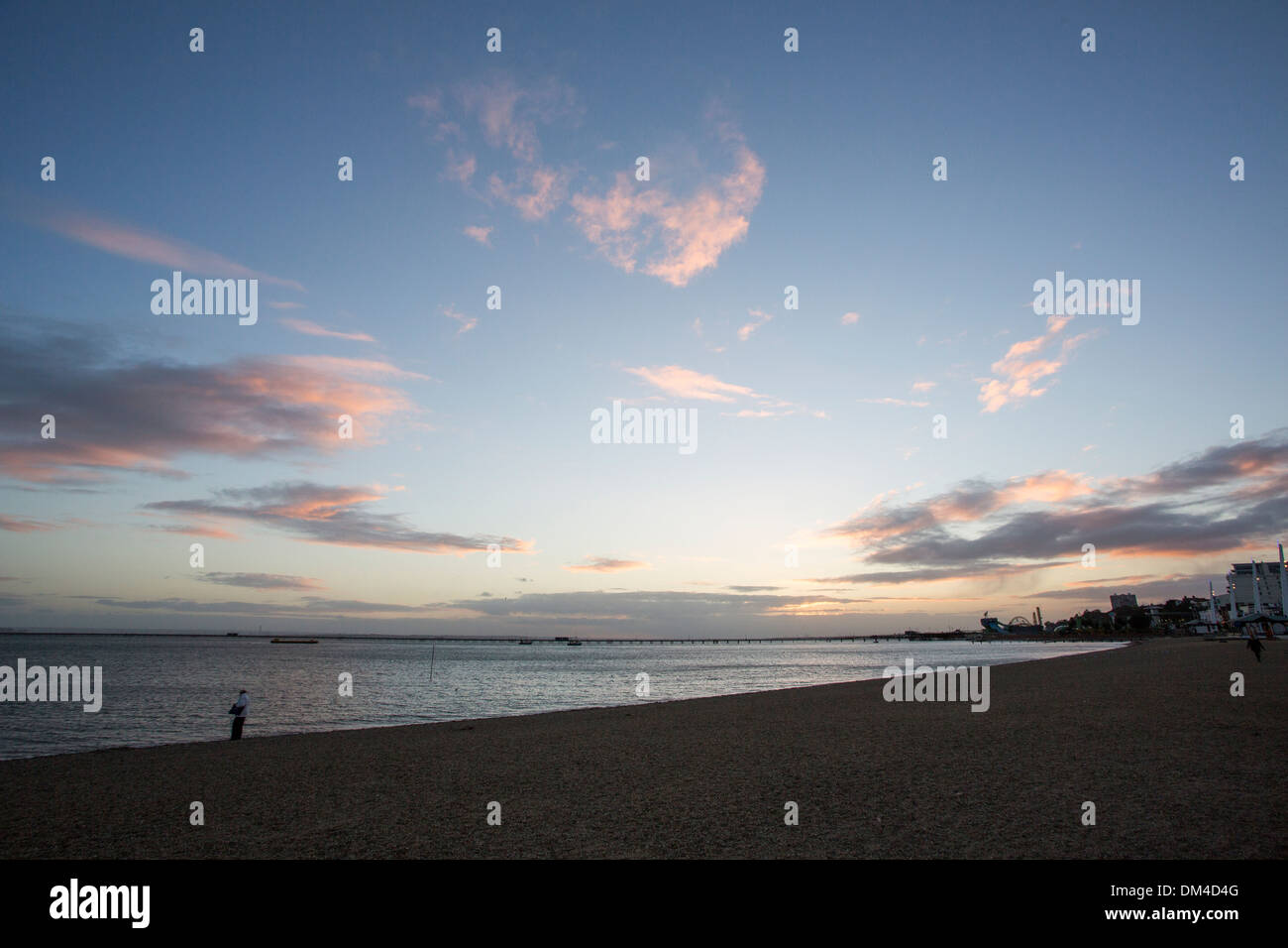 10/10/2013 Southend pier and river Thames from Jubilee beach, Southend-On-Sea, Essex, UK - Stock Image