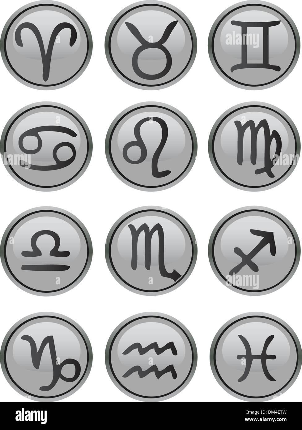 Zodiac Icon Set Stock Vector Art Illustration Vector Image
