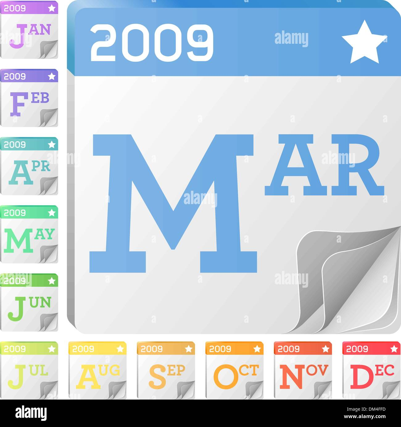 2009 Month and Calendar Icons - Stock Vector