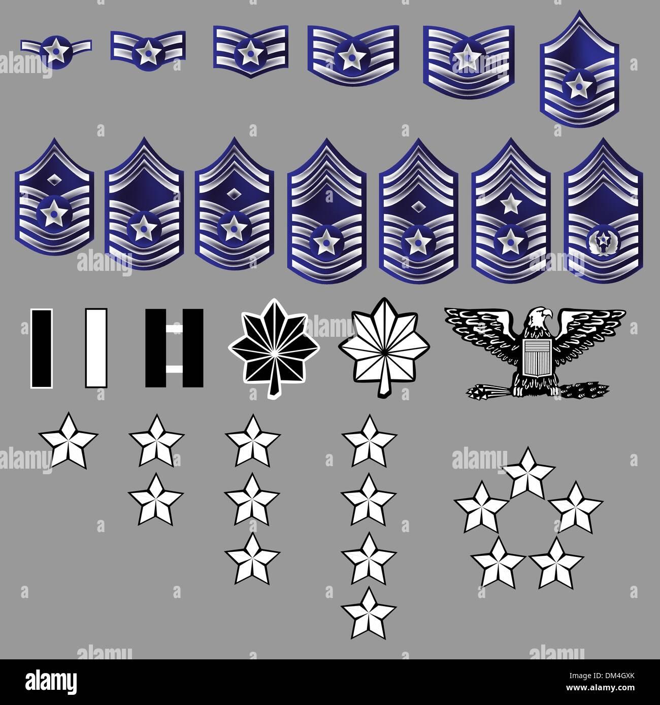 US Air Force Rank Insignia texture Stock Vector Art