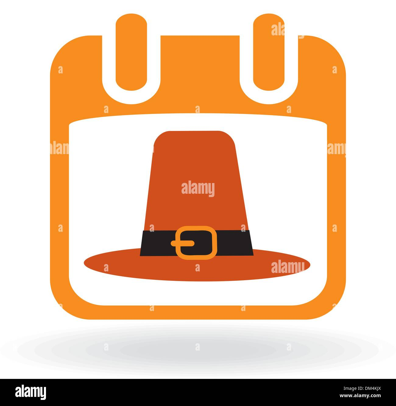 Calendar icon with pilgrim hat Stock Vector