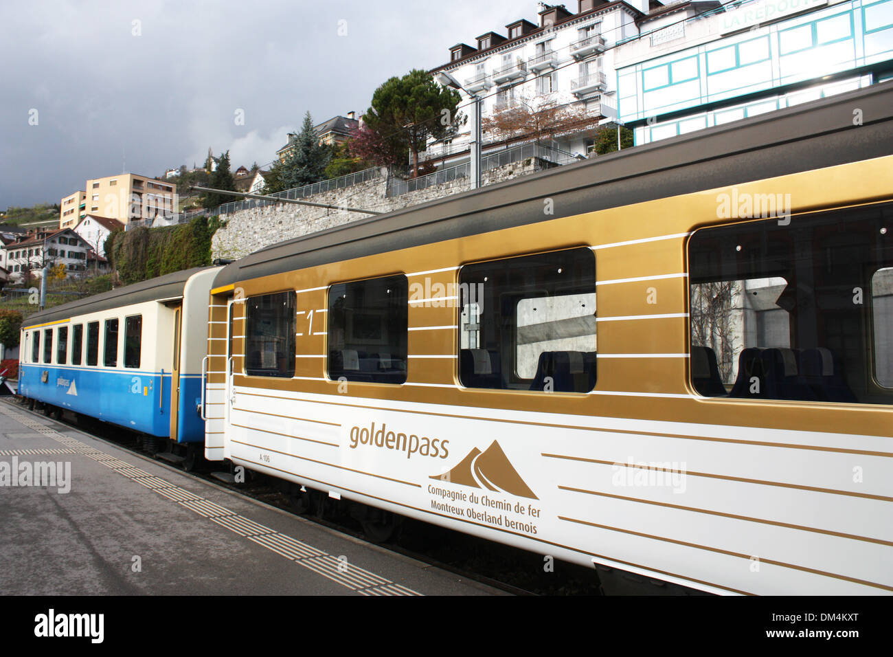 Golden Pass train in Switzerland Stock Photo