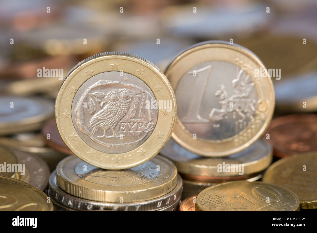 A one Euro coin from the EU member country Greece - Stock Image