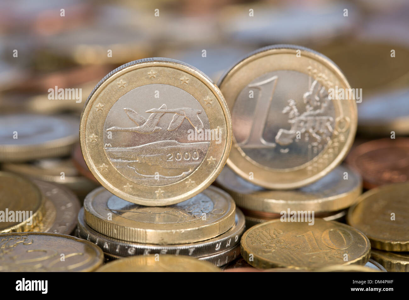 A one Euro coin from the EU member country Finland - Stock Image