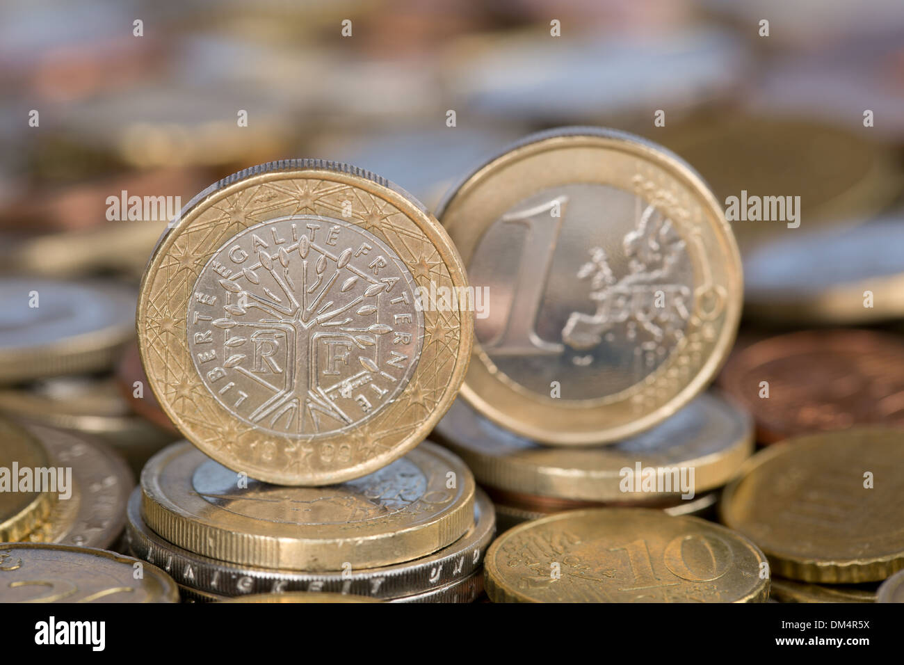 A one Euro coin from the EU member country France - Stock Image
