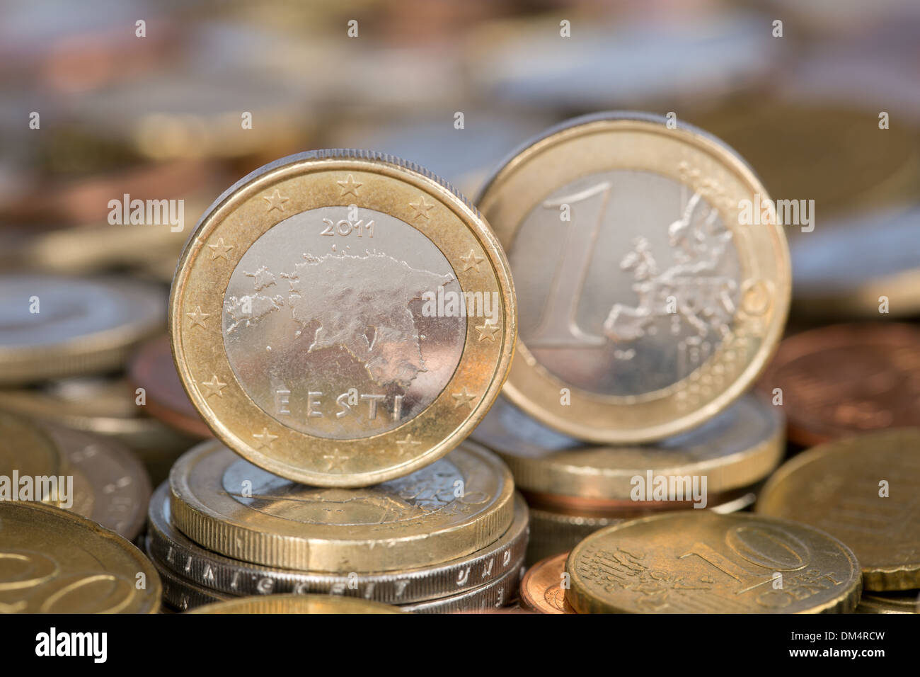 A one Euro coin from the EU member country Estonia - Stock Image