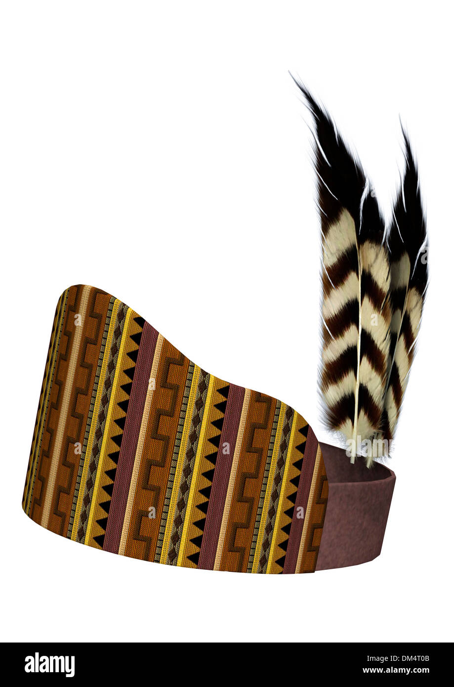 3D digital render of a native American feather headdress isolated on white background - Stock Image