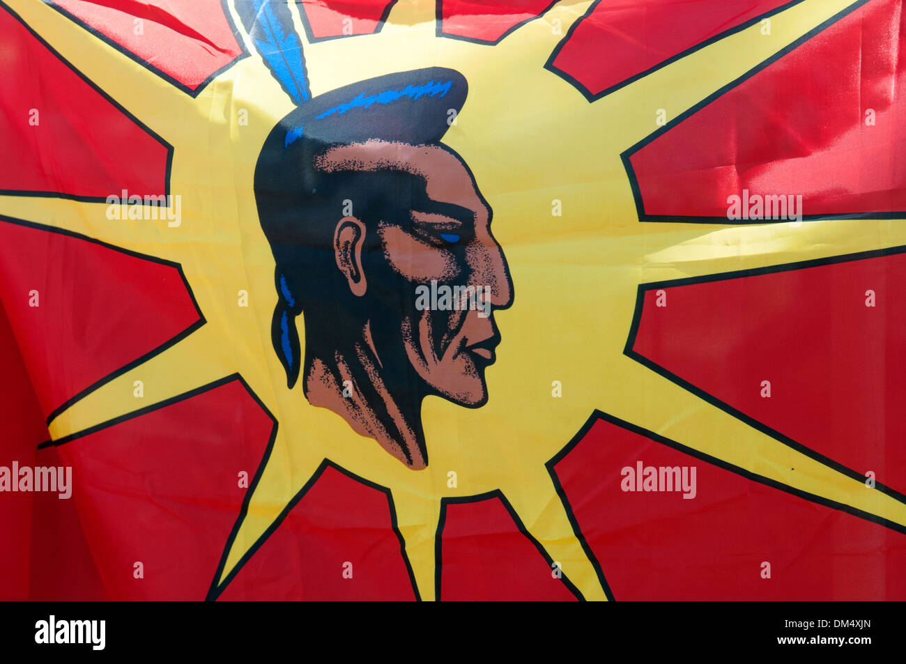 Mohawk Flag First Nations Quebec Canada - Stock Image